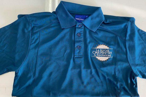 T-Shirt-Printed-Hervey-Bay-logo-decal-Blue-La-Roche-Carpentry